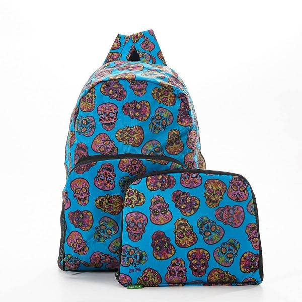 35368 Teal Skull Foldable Backpack