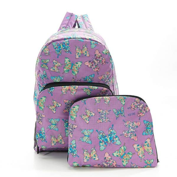 35370 Lilac Butterfly Foldable Backpack Pack Of 2