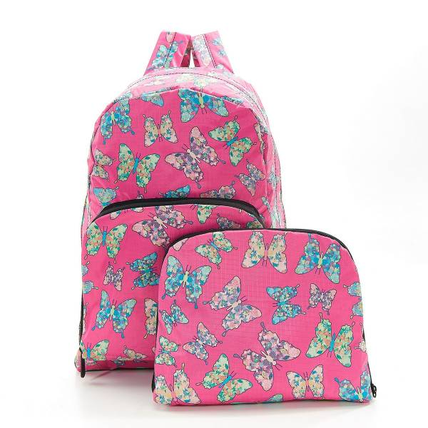 35370 B14  Fuchsia Butterfly Foldable Backpack Pack Of 2