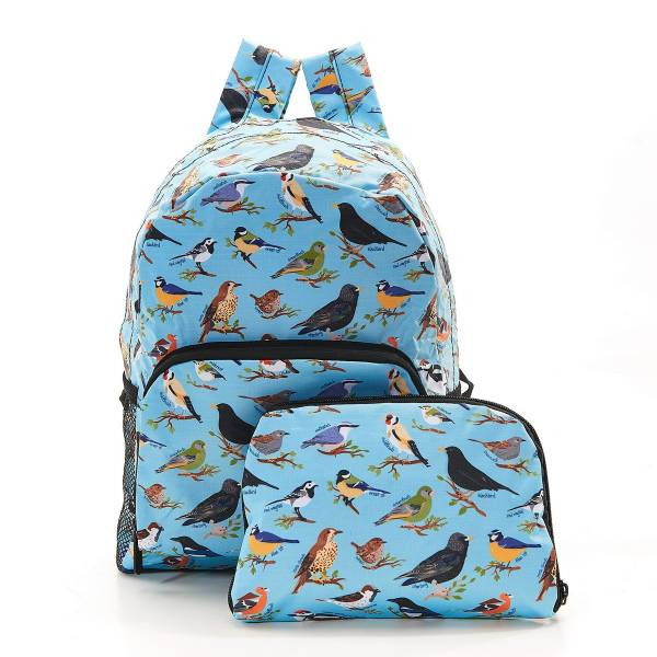 35374 B16 Blue Wild Birds Foldable Backpack Pack Of 2