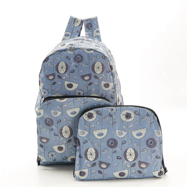 35375 B17  Grey 1950's Flower Foldable Backpack Pack Of 2