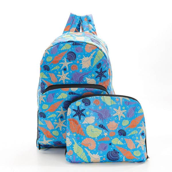 35376 Blue Seashells Foldable Backpack Pack Of 2
