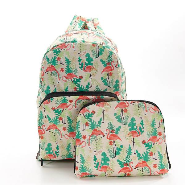 35378 B19 Beige Flamingo Foldable Backpack Pack Of 2