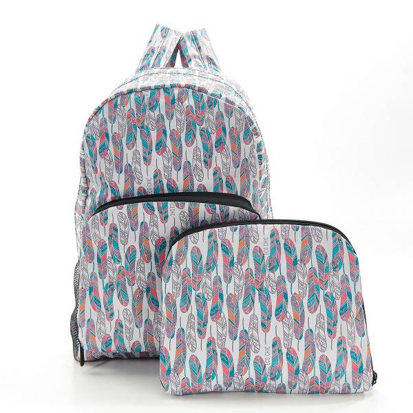 35379 B21 White Feather Foldable Backpack Pack Of 2