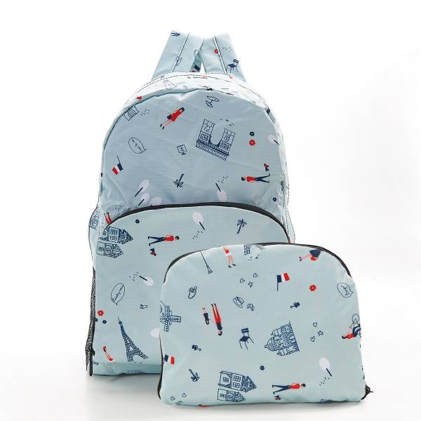 35380 Blue Paris Foldable Backpack Pack Of 2