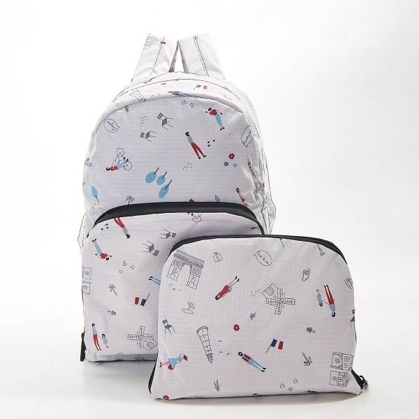 35380 White Paris Foldable Backpack Pack Of 2