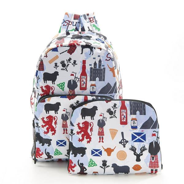 35385 B22 White Scottish Montage Foldable Backpack Pack Of 2