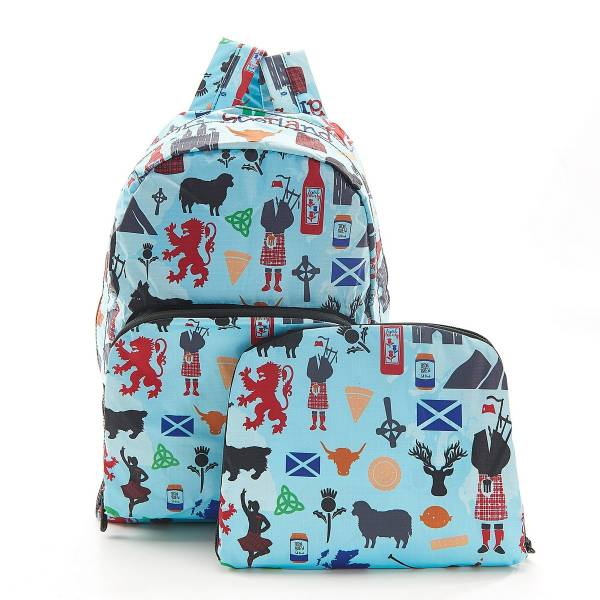 35385 B22 Blue Scottish Montage Foldable Backpack Pack Of 2