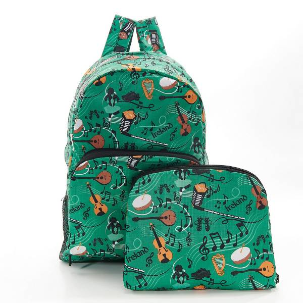 35387 Green Irish Music Foldable Backpack Pack Of 2