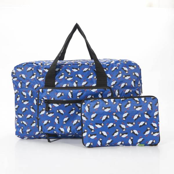 35436 Royal Blue Puffin Print Foldaway Holdall