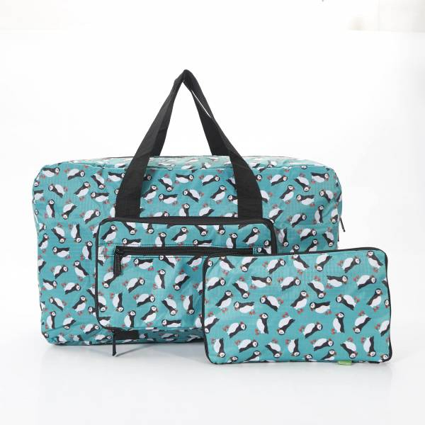 35436* Teal Puffin Print Foldaway Holdall