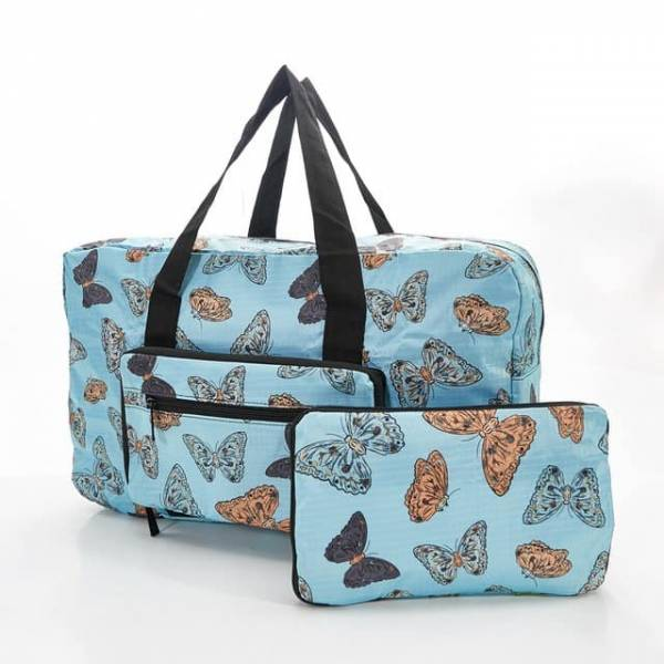 35437 D14  Blue Butterflies Foldable Holdall