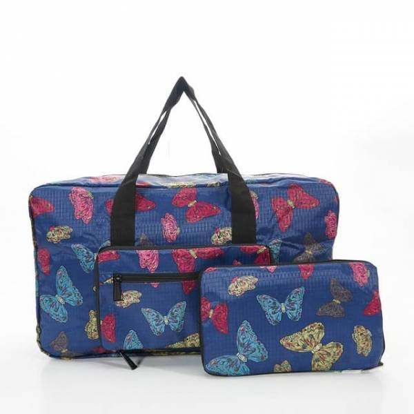 35437 Navy Butterflies Foldable Holdall