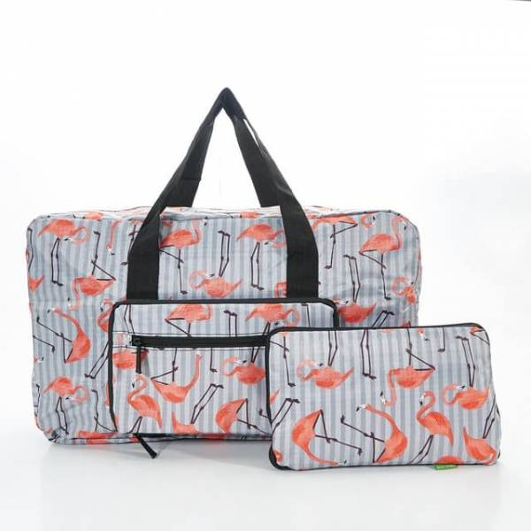 35440 Grey Flamingo Foldable Holdall