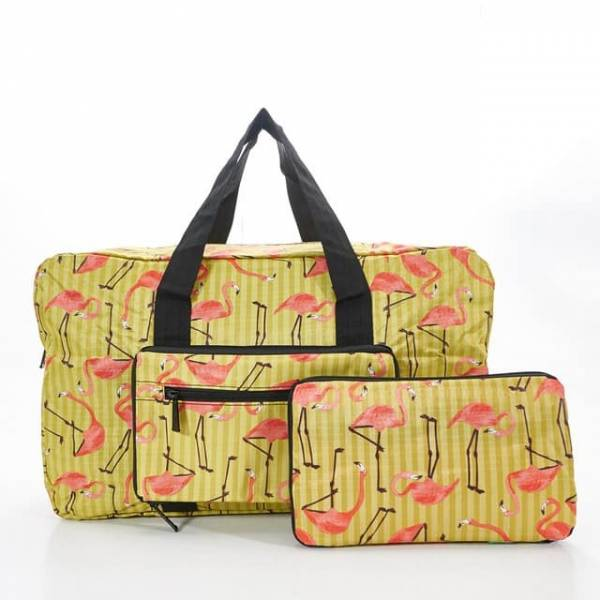 35440 Yellow Flamingo Foldable Holdall
