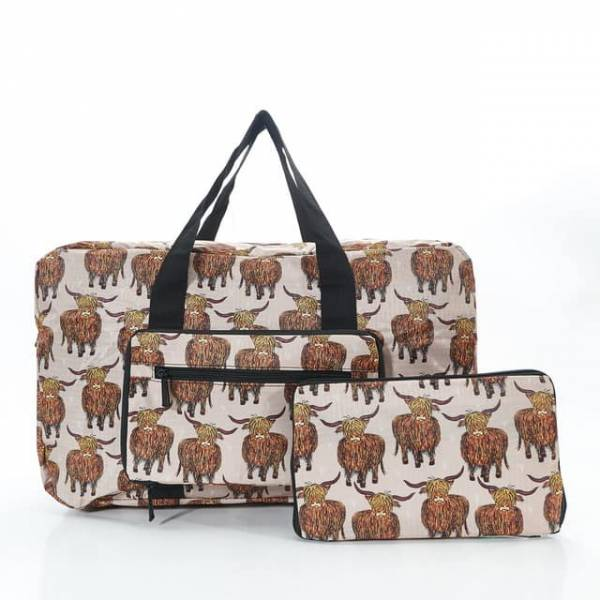 35443 Beige Highland Cow Foldable Holdall