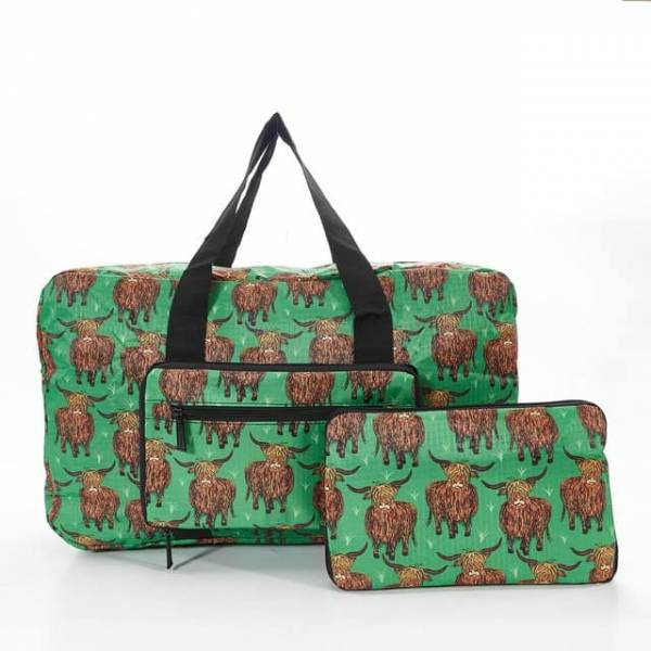 35443 Green Highland Cow Foldable Holdall