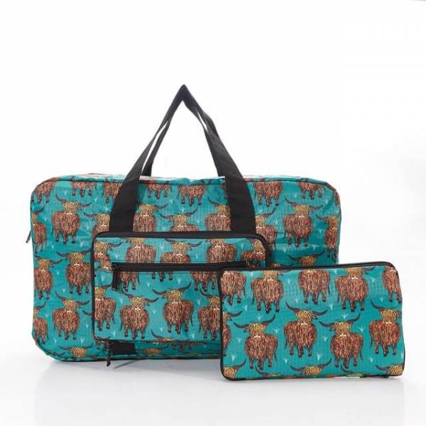 35443 Teal Highland Cow Foldable Holdall