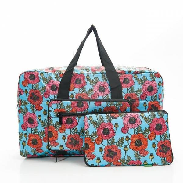 35449 D09  Blue Poppies Foldable Holdall