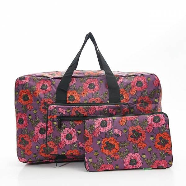 35449 Purple D09  Poppies Foldable Holdall