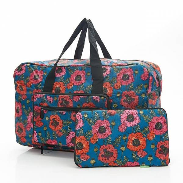 35449 D09  Royal Blue Poppies Foldable Holdall