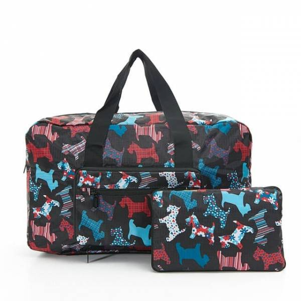 35454 D08  Black New Floral Scotty Dog Foldable Holdall