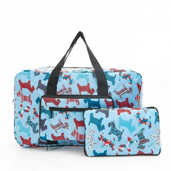 35454 D08  Blue New Floral Scotty Dog Foldable Holdall