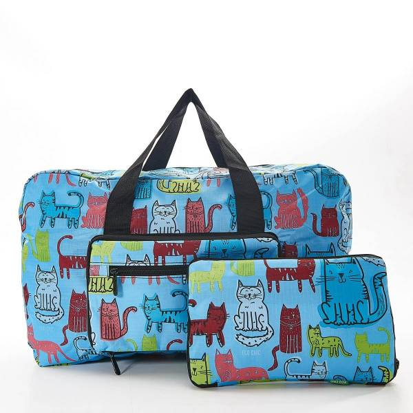 35465  Blue Funky Cat Foldable Holdall