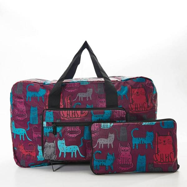 35465 Purple Funky Cat Foldable Holdall