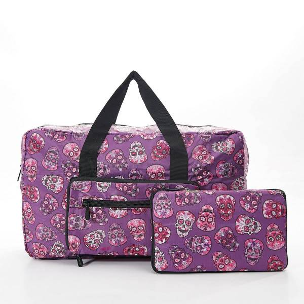 35469 Purple Skull Foldable Holdall