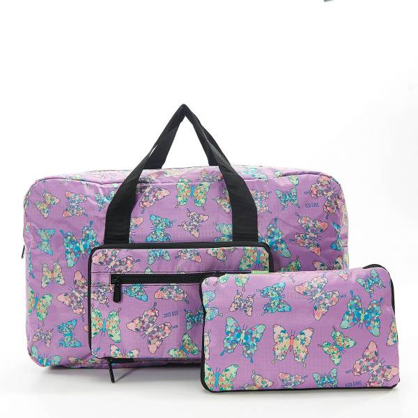 35470 D14  Lilac Butterfly Foldable Holdall Pack Of 2