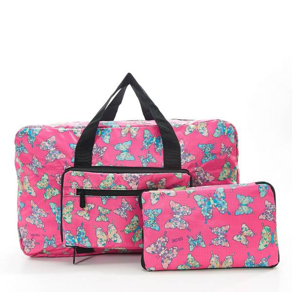 35470 D14  Fuchsia Butterfly Foldable Holdall Pack Of 2