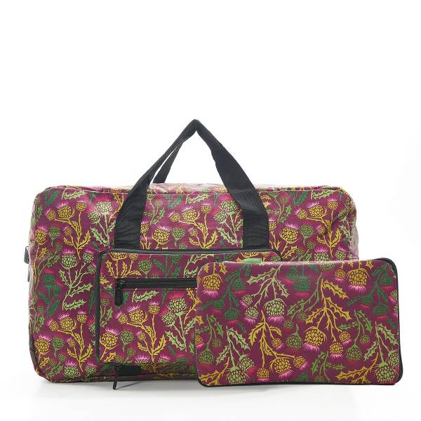 35472 D15  Purple Thistle Foldable Holdall Pack Of 2