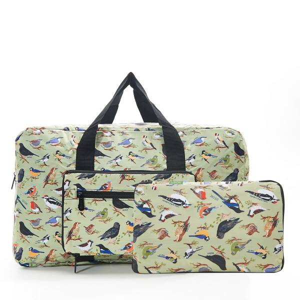 35474 D16  Green Wild Birds Foldable Holdall Pack Of 2