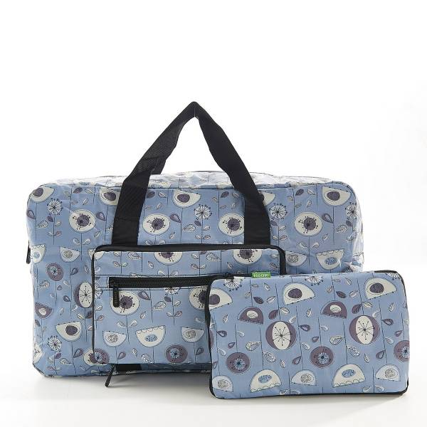 35475 Grey 1950's Flower Foldable Holdall Pack Of 2