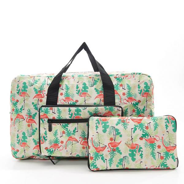 35477 Beige Flamingo Foldable Holdall Pack Of 2