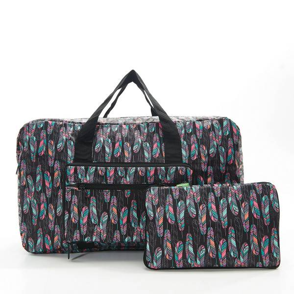 35478 D19 Black Feather Foldable Holdall Pack Of 2