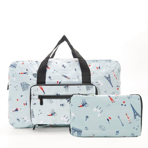 35479 Blue Paris Foldable Holdall Pack Of 2