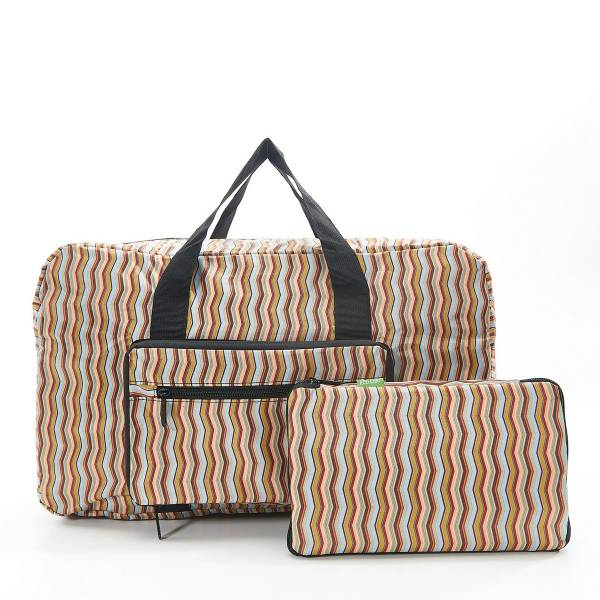 35480 Neutral Zig Zag Foldable Holdall Pack Of 2