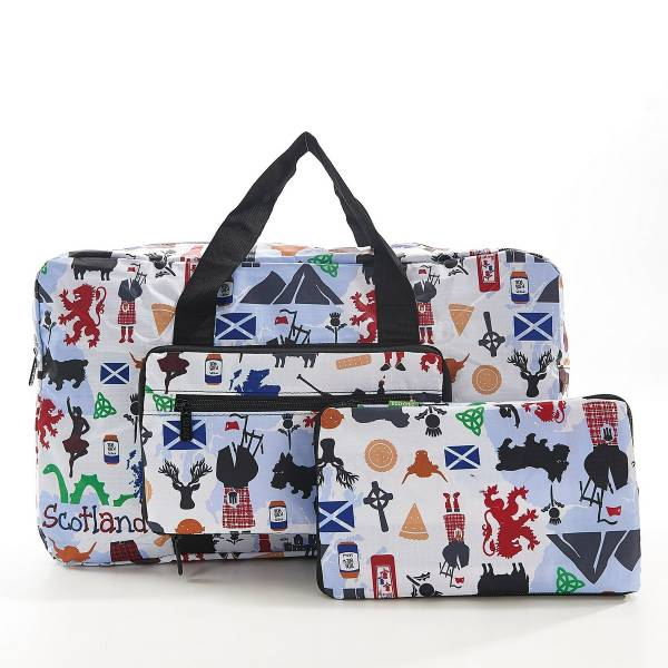 35482 White Scottish Montage Foldable Holdall Pack Of 2