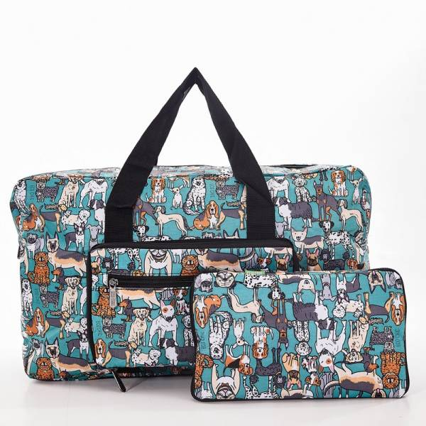 35490 Teal Dogs Foldable Holdall Pack of 2