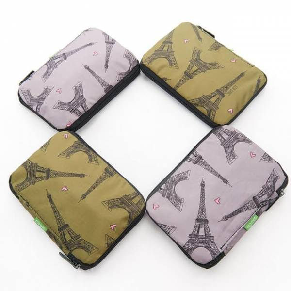 35549 Eiffel Tower Foldable Drawstring Bag Pack Of 4