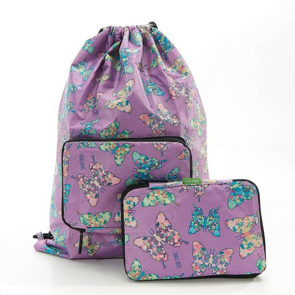 35567 Lilac Butterfly Drawstring Bag Pack Of 2