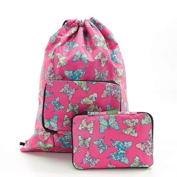 35567 Fuchsia Butterfly Drawstring Bag Pack Of 2