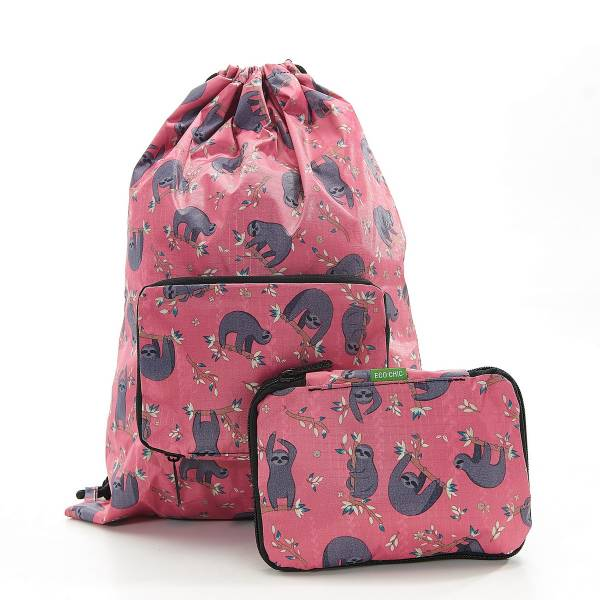 35569 Fuchsia Sloth Drawstring Bag Pack Of 2