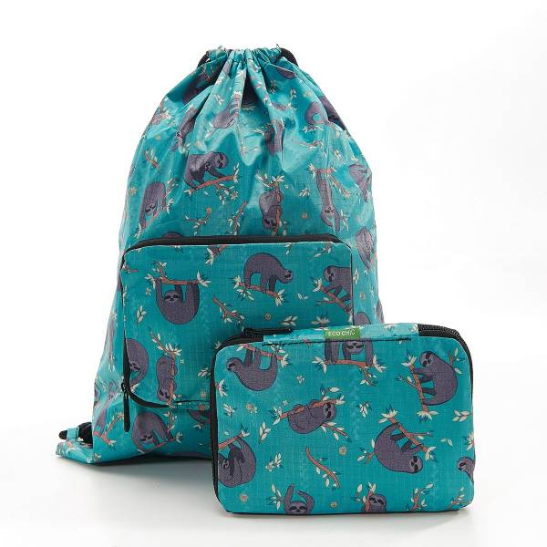 35569 Teal Sloth Drawstring Bag Pack Of 2