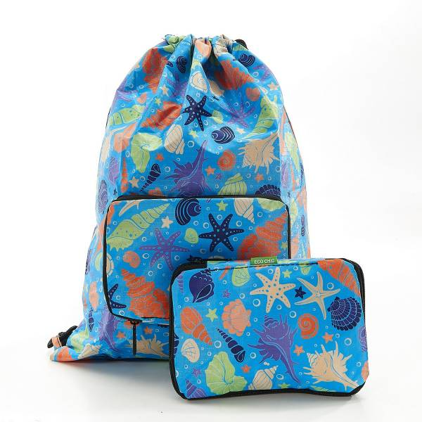 35570 Blue Seashells Drawstring Bag Pack Of 2