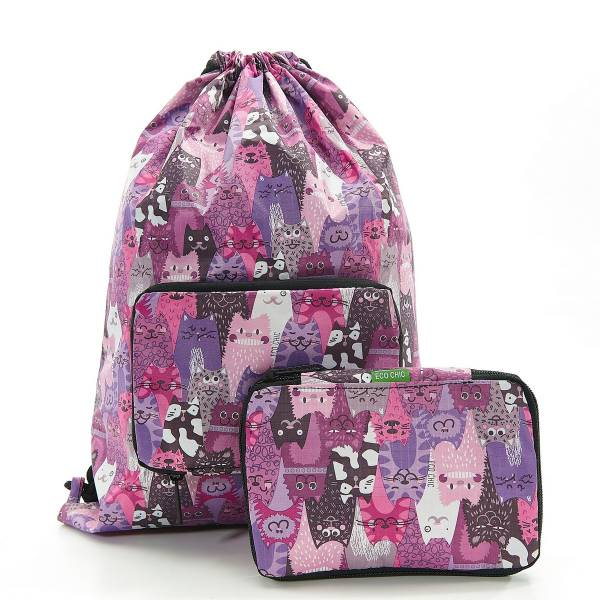35571 Purple Cats Drawstring Bag Pack Of 2