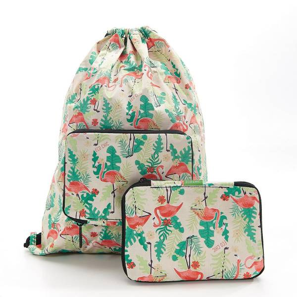 35572 Beige Flamingo Drawstring Bag Pack Of 2