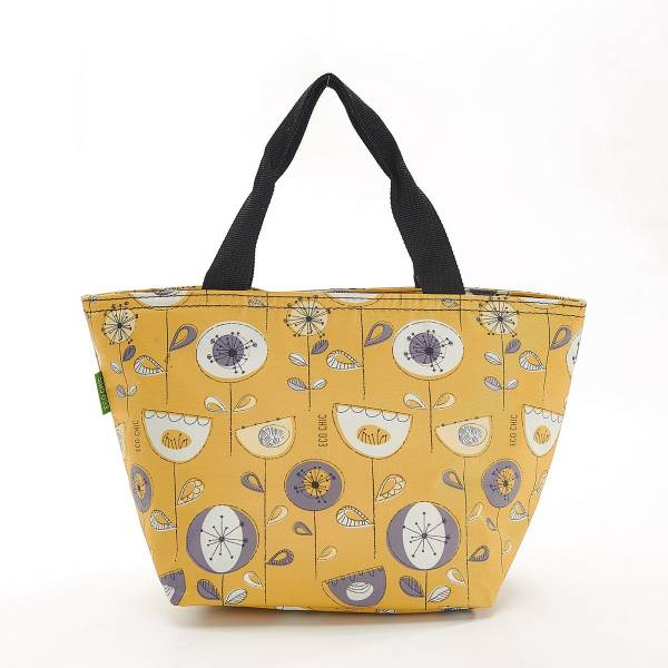 35664 Mustard 1950's Flower Cool Bag Pack Of 2
